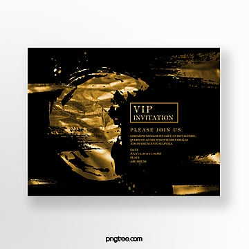 black gold high end business invitation Template
