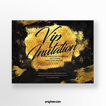 fashion luxury gold foil effect vip business invitation Template