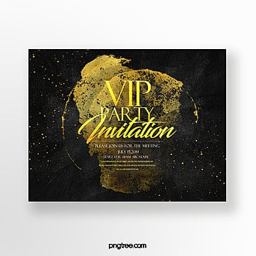 luxury high end fashion vip gold foil effect business invitation Template