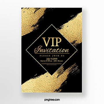 textured gold foil brush high end business invitation Template