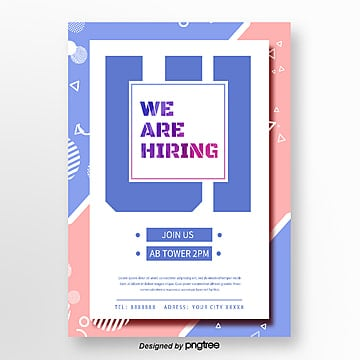 blue creative memphis recruitment poster Template