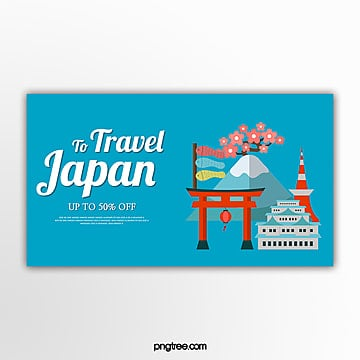 blue flat style japan travel theme banner Template