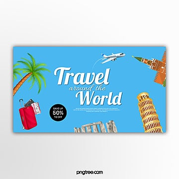 blue flat style travel promotion banner Template
