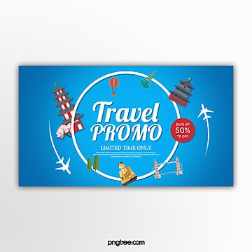 blue light travel promotion promotion banner Template
