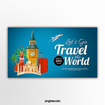 blue travel theme promotion banner Template