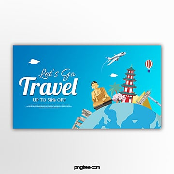 blue vector travel promotion promotion banner Template