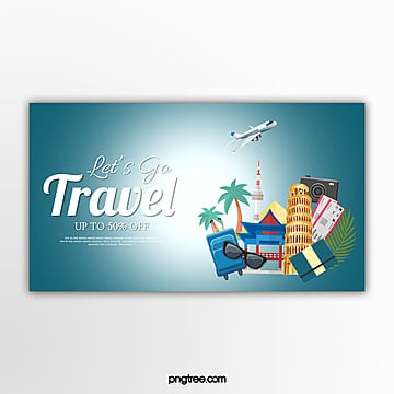 blue vector travel theme banner Template
