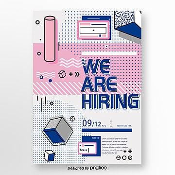 color memphis line wave point corporate recruitment poster Template