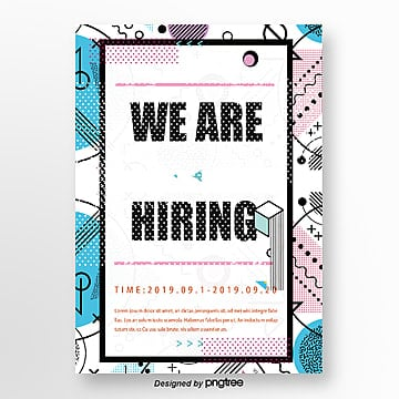colored simple lines memphis recruitment poster Template