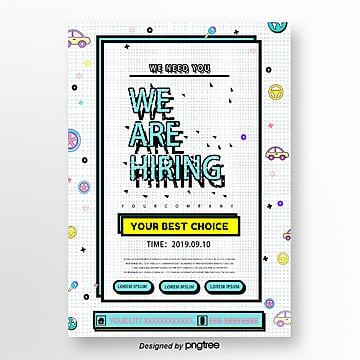colorful geometric recruitment poster Template