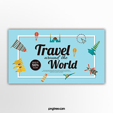 vector flat style travel promotion banner Template