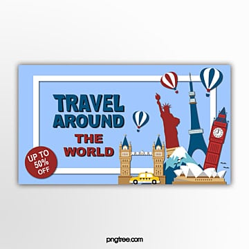 world travel promotion banner Template