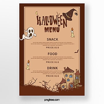 yellow cartoon halloween theme menu template Template
