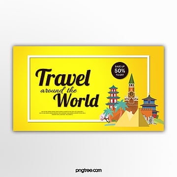 yellow round the world travel promotion banner Template