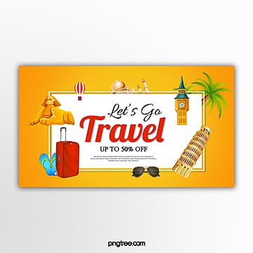 yellow vector travel promotion promotion banner Template