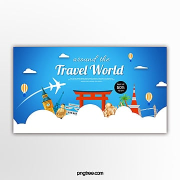 blue flat style travel themed promotion banner Template