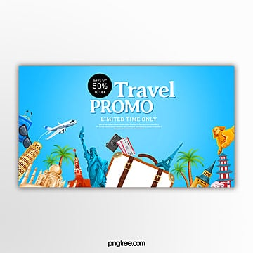 blue travel themed promotion banner Template