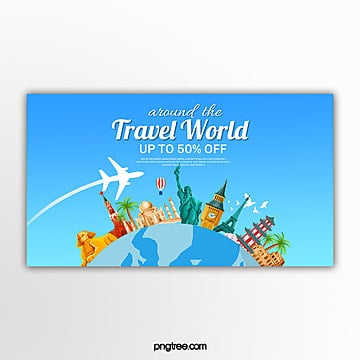 blue vector globe travel theme banner Template