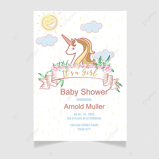 Baby Shower Invitation Card Template For Free Download On