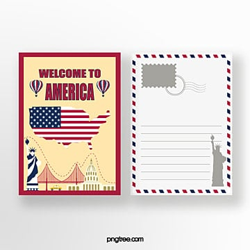 american travel commemorative postcard Template