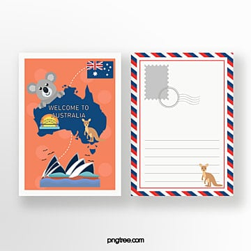 australian travel commemorative postcard Template