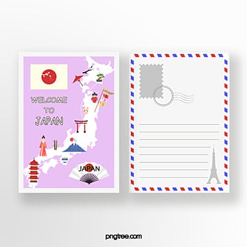 japan travel commemorative postcard Template
