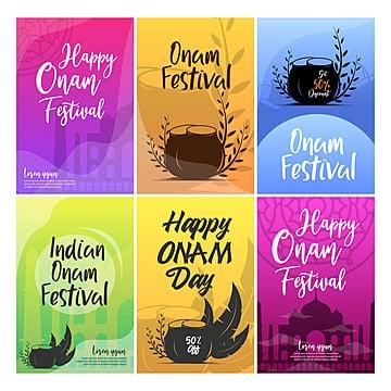 रंगीन खुश ओणम त्यौहार के दिन पोस्टर डिजाइन टेम्पलेट प्रेरणा टेम्पलेट