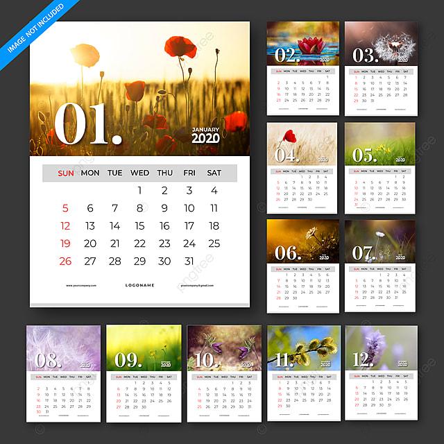 calendar 2020 vector template design set of 12 months