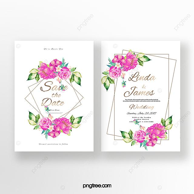 Invitación De Boda De Doble Cara Floral Pintada A Mano