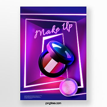 blue violet color neon tube make up product poster Template