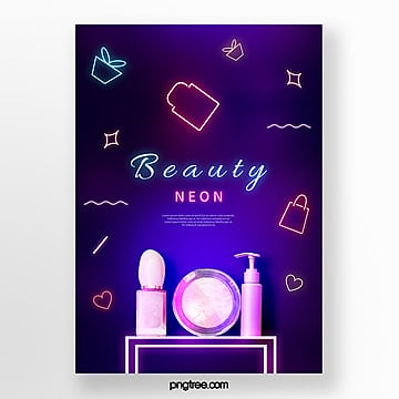 neon tube beauty product poster Template