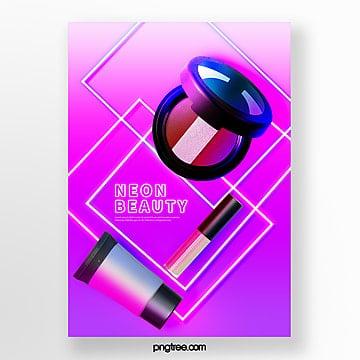 purple gradient neon light beauty product poster Template