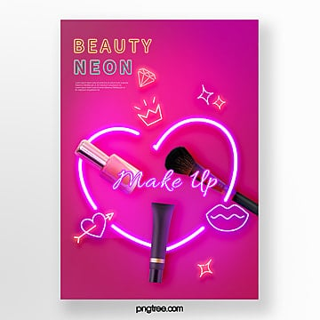 red neon tube effect make up product poster Template