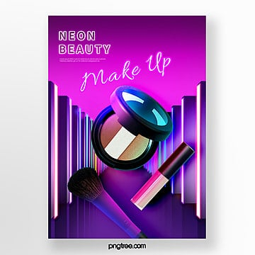 three dimensional space neon effect beauty product poster Template