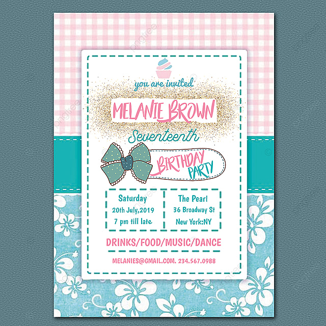 17th Birthday Invitation Card Template For Free Download On