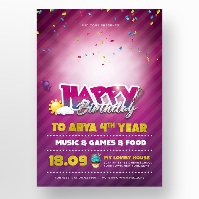 Birthday Invitation Card Psd Template For Free Download On