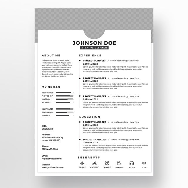 Free Clean Resume Psd Template: Black Psd Clean Resume Design Templates Template For Free