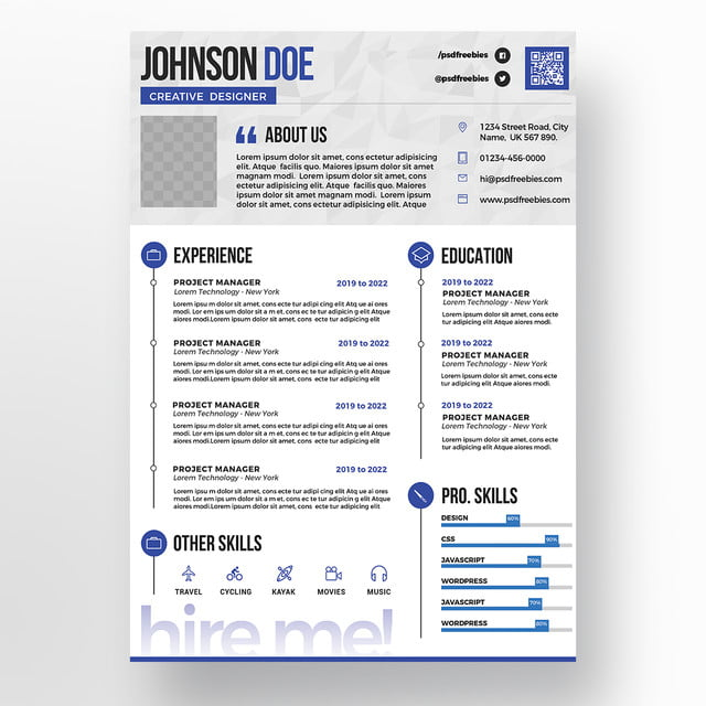 Blue Professional Resume Cv Psd Templates Template For Free
