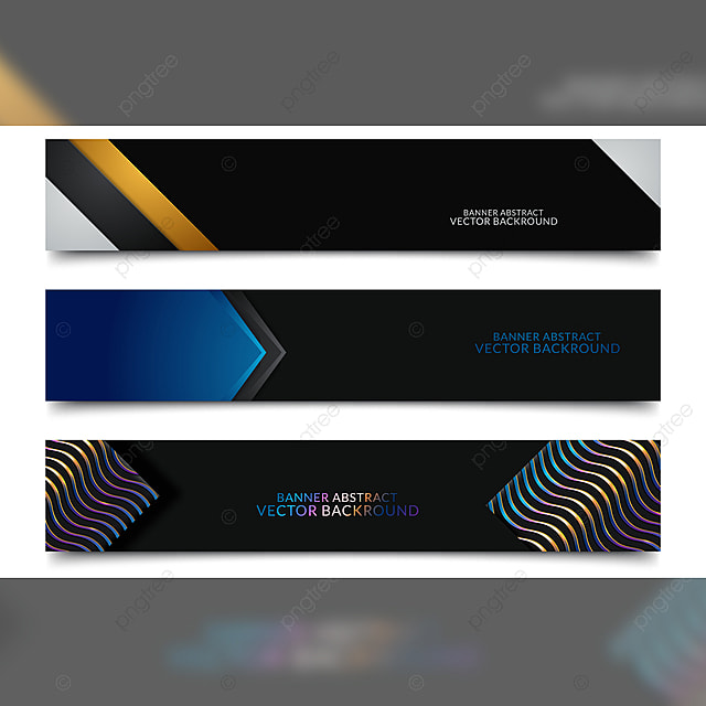 Design Of Black Horizontal Web Banners Template For Free