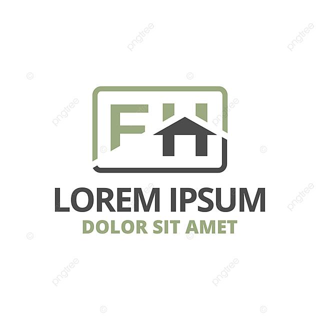 Illustration Initiale Lettre F Et H Avec Toit Icône Logo