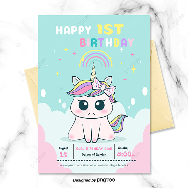 Purple Children Cartoon Unicorn Birthday Invitation Template