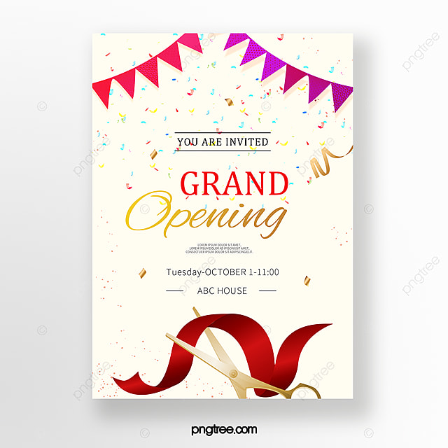 Red Ribbon Opening Invitation Template For Free Download On