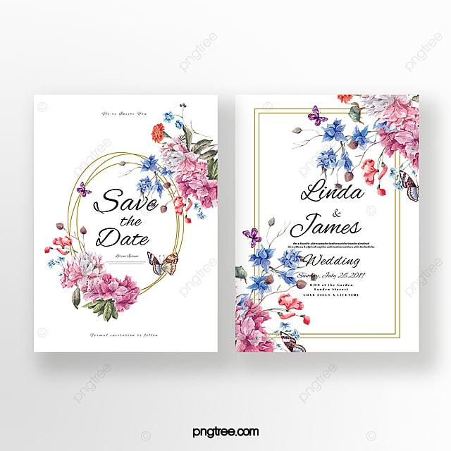 Invitación De Boda De Doble Cara De Flores Vintage Descarga