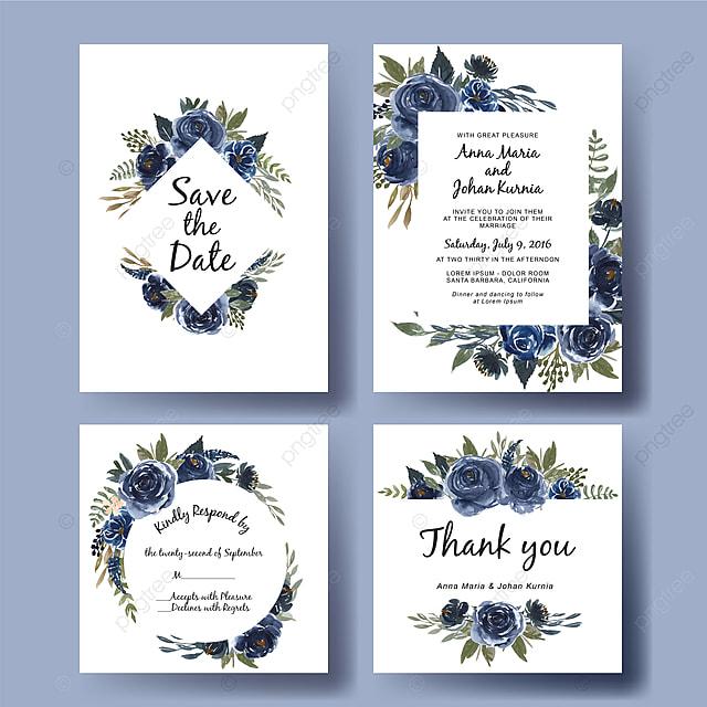 Wedding Invitation Set Of Watercolor Flower Bouquet Navy