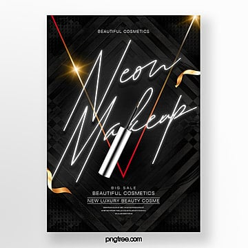 black luxury theme neon effect makeup product poster Template