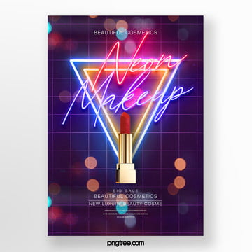 fashion star effect neon light effect makeup product poster Template