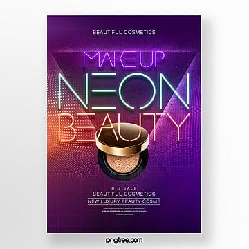 fashion color gradient effect neon makeup theme poster Template