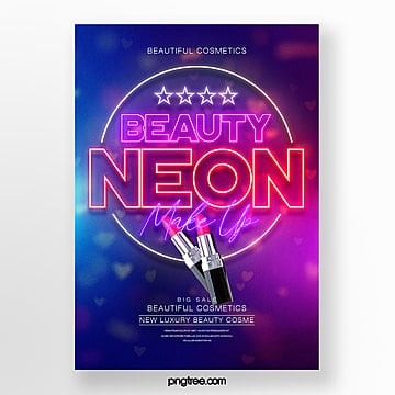 fashion color gradient neon effect makeup lipstick poster Template