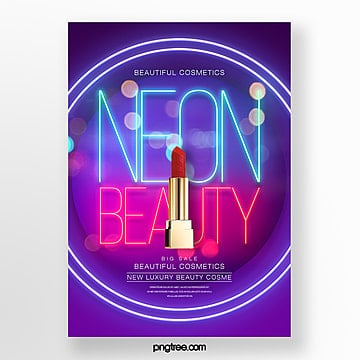 fashion creative trend neon effect make up poster Template