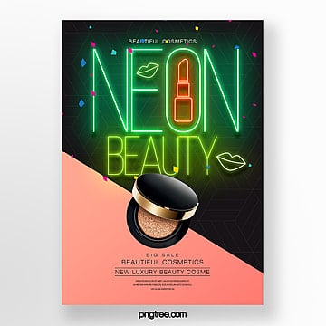 fashion makeup products neon effect theme poster Template